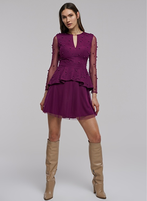 People By Fabrika İnci Detaylı Elbise Mor